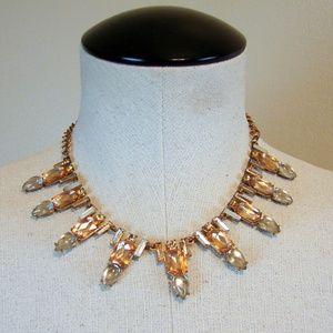 Peach rhinestone studded statement necklace